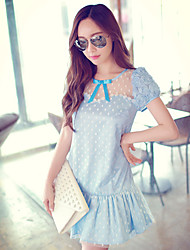 Pink Doll®Women's Round Neck Casual/Lace Pleated Petal Sleeve Dress