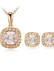 T&C Women's Classic 18K Rose Gold Plated Princess Cut Square Cubic Zirconia Pendant Necklace and Earrings Jewelry Set