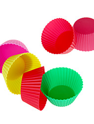 12pcs Reusable Silicone Cake Mold Baking Cups (Random Color)