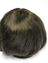 Stock Mens Toupee 100% Human Hair Hairpieces Hair Replacement For Men 3# Dark Brown French Lace With PU Back And Side