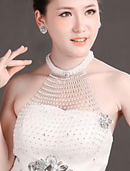 Bride Wedding White Mesh Hollow Diamond Noble Flower Earring Epaulet Set