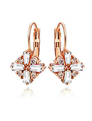 T&C Women's Dazzling Cz Jewelry 18k Rose Gold Plated 4 Pieces Clear Austria Crystal Rhombus Shape Drop Earrings