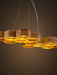 Designer Art Individuality Chandelier Restaurant Bar Simple Honeycomb Wood Lamps