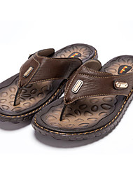 Men Summer Flip Flops Made of PU and Rubber Antislip
