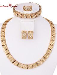 WesternRain Gold Plated Fashion antique jewelry Charm Rhinestone Jewelry Women Gift Party wedding Jewelry Sets