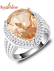 Lucky Shine Women's Men's Unisex Silver Unique Rings With Gemstone Fire Drop Morganite Crystal Party Jewelry