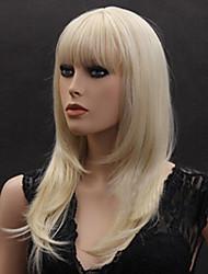 cheveux raides blone perruques de cheveux synthétiques perruques de style europe