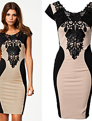 Hot selling new style club dresses online o-neck short sleeve bodycon dress with lace decorated 2015 women fashion dress