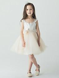 Blumenmädchen Kleid - Tülle - Duchesse-Linie - mini - Ärmellos