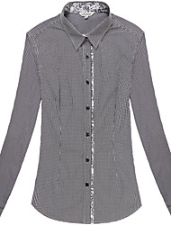 Women's Long Sleeve Checked Blouse