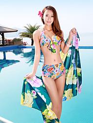 Women's Large Yard Printing Bikini Three Sets of Swimsuit