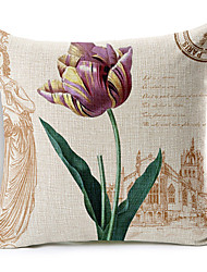 Country Style Paris Flowers Patterned Cotton/Linen Decorative Pillow Cover