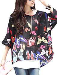 Women Summer BatwingSleeve Chiffon Bohemia Blouses Tops Clothes