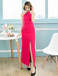 De las mujeres Corte Bodycon Vestido Sexy Un Color Maxi Halter Punto Romano
