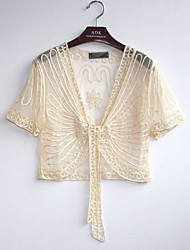 Women's Fashion Embroidered Lace Short Sleeved Short Cardigan