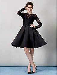 TS Couture® Cocktail Party Dress - Black A-line Bateau Knee-length Lace