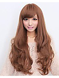 Japan and South Korea Fashion Light Brown Inclined Bang Big Pear Flower Roll of Curly Hair Wig