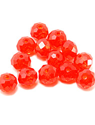 Beadia 120PCS Fashion Glass Facetted Beads 6x8mm Flat Round Shape Red Color DIY Spacer Loose Beads
