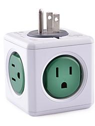 Allocacoc 4100/USORPC PowerCube 1-to-5 Original US Plug Power Socket - Green