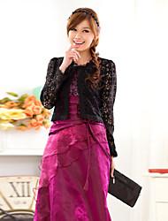 Wedding Wraps Long Sleeve Lace/Polyester Casual/Party Elegant Boleros Black/White Bolero Shrug