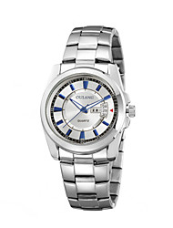 Men's Business Watches with Steel Strap Double Calendar Display Japanese Original Movement Classic Simplicity Crown