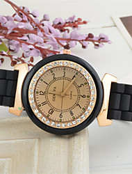 Unisex  Silica Gel Jelly Golden Diamond The Student Dress Watch Silicone Band Quartz Wrist Watch Cool Watches Unique Watches