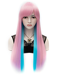 Club Party Rainbow Long Straight Synthetic Cosplay Hair Wig Women