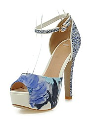 Women's Shoes Stiletto Heel Peep Toe/Platform/Ankle Strap Sandals Dress Gold/Silver/Blue/White
