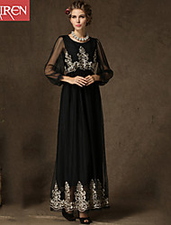 Muairen®Women'S Vintage Evening Dress Embroidered Long-Sleeved Dress Gauze