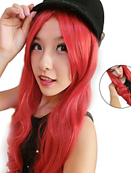 Fashion Synthetic Wigs Inclined Bang Red Femme Anime Ombre Cosplay Wigs Curly Afro Wig Sex Products Wigs Long Curly Hair
