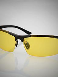 Gafas de Sol hombres's Ligeras Envuelva Negro / Plata Deportes / Conducción / Gafas de visión nocturna Media Montura