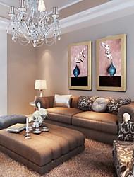 pintura mão abstrato moderno pintado óleo de linho natural com esticada enquadrado - conjunto de 2