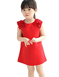 Children Girls Pure Color with Chiffon Flowers in Shoulder Sundress