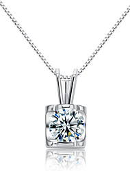 Jazlyn® Woman Platinum Plated 925 Sterling Silver Perfume Bottle Cubic Zirconia Charm Necklace Pendant for Gift