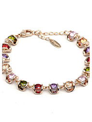 HKTC Noble Sparkling Jewelry 18k Rose Gold Plated Colourful Simulated Diamond Rhinestones Strand Bracelet