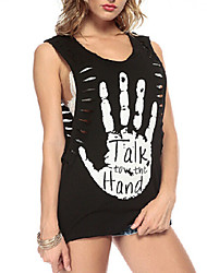 Women's Casual  Palm Hand Letter Printed Sleeveless Loose Sexy Tank Top