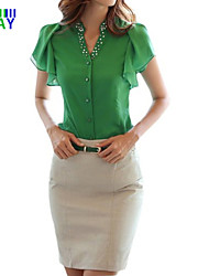 Damen Solide Einfach Lässig/Alltäglich T-shirt,V-Ausschnitt Sommer Kurzarm Blau / Weiß / Schwarz Dünn