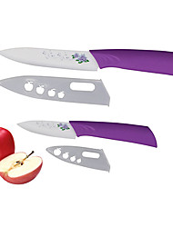 2 Pieces Flower Patterned Blade Ceramic Knife Set 3''Fruit Knife/5''Utility Knife with Covers Purple Color