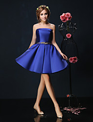 Cocktail Party Dress Petite Ball Gown Strapless Short / Mini Charmeuse with Sash / Ribbon