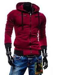 R-Warm Men's Hoodie Coats & Jackets , Cotton Blend Long Sleeve Casual Button All Seasons