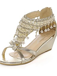 Women's Shoes Wedge Heel Wedges/Open Toe Sandals Casual White/Gold