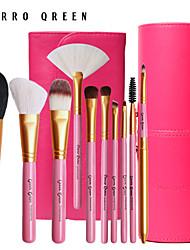 10 animal natural escova de cabelo cerro qreen maquiagem configurar um conjunto de escova de natal + partes de tubo escova correio