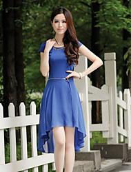 Women's Blue/Yellow Dress , Work Short Sleeve