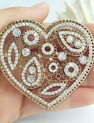 Wedding Accessories Gold-tone Clear Rhinestone Crystal Love Heart Brooch