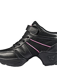 Non Customizable Women's Dance Shoes Dance Sneakers/Modern/Gymnastics Leather/Fabric Chunky Heel Black/Pink/White