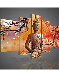не ручная роспись стены искусство религия Будды маслом на холсте зеленые 5шт / комплект без рамки