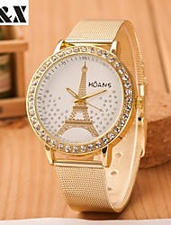 Women's Fashion Tower Set Auger Quartz Steel Belt Wrist Watch Cool Watches Unique Watches