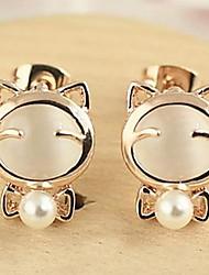 Opals Bowknot Pearl Earrings Stud Earrings