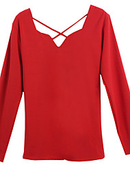 Waboats Women Long Sleeve V Neck Cross Back Slim Tunic Shirt