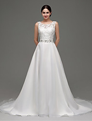 A-line Wedding Dress Sweep / Brush Train Bateau Organza with